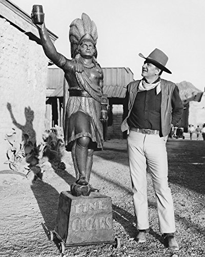 - John Wayne Cigar Store Indian Statue On Western Set 16X20 Canvas Giclee