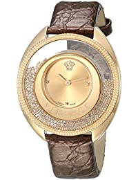 Women's 'DESTINY SPIRIT Small' Swiss Quartz Stainless Steel and Leather Casual Watch, Color:Gold-Toned (Model: VAR020016)
