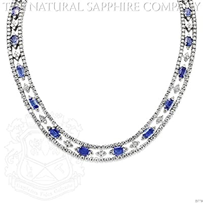 18k White Gold Necklace with 29.98ctw Emerald Cut Sapphires and 24.92ctw Diamonds