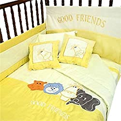 Jungle Animals Crib Bedding Comforter Unisex Set 8pc Hippo Elephant Giraffe Toddler Bed
