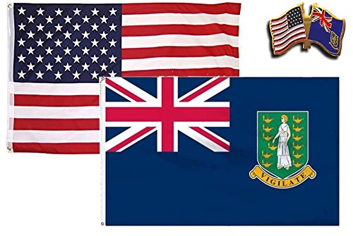 MWS Wholesale Combo USA & British Virgin Islands Country 2x3 2'x3' Flag & Lapel Pin Country Two Light Island
