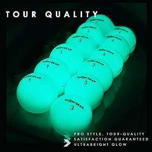 GlowV2 Night Golf Balls (2-Pack) -  Best Hitting Ultra Bright Glow Golf Ball - Compression Core and Urethane Skin - Includes UV Flashlight