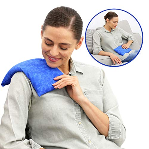 Nature Creation Microwave Heating Pad | Portable Heating Pack for Cramps, Arthritis, Joints Pain, Soring Muscles & Aching Feet | Reusable Microwave Hot Pack for Pain and Stress Relief (Blue Marble)