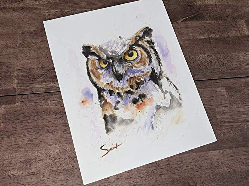Great horned owl archival print owl watercolor original designs owl gift mindfulness gift owl art birders gift owl painting