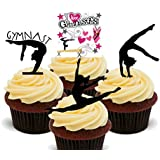Gymnastics Silhouettes Edible Cupcake Toppers - Stand-up Wafer Cake Decorations by Made4You