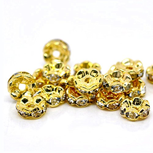 (RUBYCA 100pcs Wavy Rondelle Spacer Bead Gold Tone 6mm White Clear Czech Crystal)