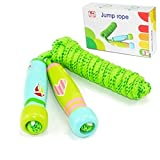 Jump Rope for Kids and Adults, Adjustable Jumping Rope with Cartoon Wooden Handle and Cotton Skipping Rope for Children, Great for Fitness Training/Fat Burning Exercise/Outdoor Fun Activity