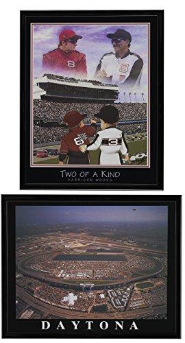 Nascar Legends - - Dale Earnhardt Jr. & Sr. Framed Lithograph & Daytona International Speedway Framed Aerial Print Set of 2