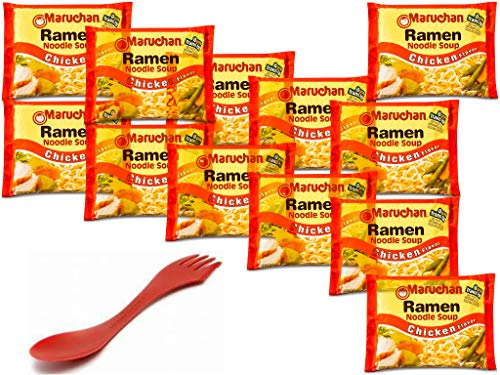 Maruchan Ramen Noodle Soup Chicken Flavor 12 pack of 3oz + Spork (Spoon, Fork) Kit of 13 items