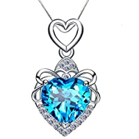 Aiblii Women's No Allergy Blue Swarovski Crystal Sterling Silver Pendant Necklaces, Jewelry for Women Anniversary Gifts, 18''