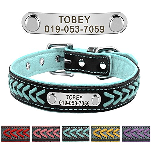 Didog Leather Custom Collar,Braided Leather Engraved Dog Collars with Personalized Nameplate for Small Medium Large Dogs,Blue,M Size by Didog