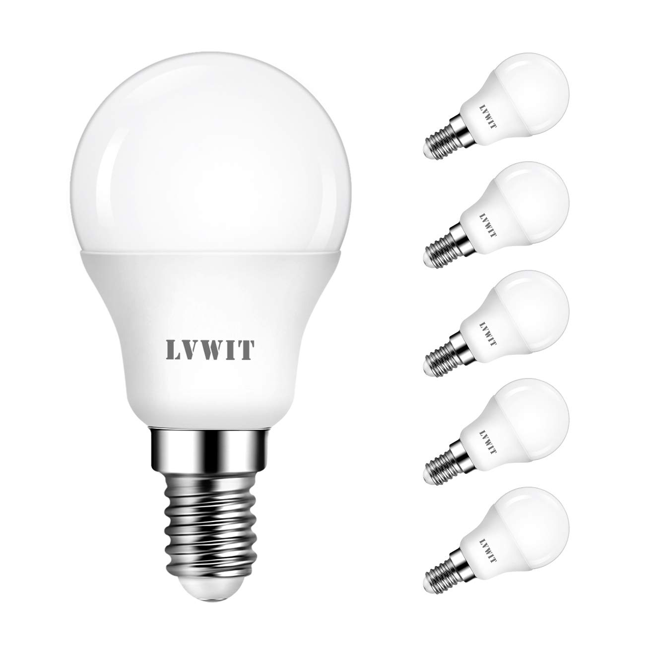 LVWIT Bombillas LED P45 E14 (Casquillo Fino) - 4.5W equivalente a 40W, 350 lúmenes, Color blanco cálido 2700K, No regulable - Pack de 6 Unidades.