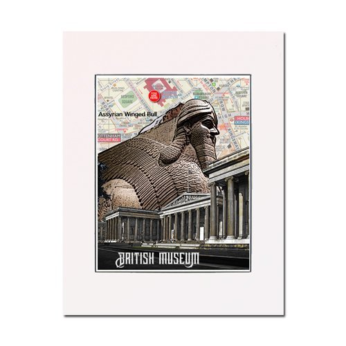 - London British Museum Assyrian Winged Bull art print enhance your home or office Gallery quality Matted and ready-to-frame