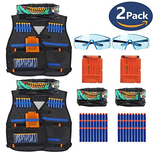 CloverTale 2 PACK SET Nerf Kids Tactical Vest Set Kit with 30 Pcs Refill Darts, Reload Clips Face Tube Mask and Protective Glasses for Nerf Toys Guns N-Strike Elite Series (2 Pack)