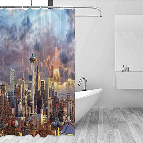 HCCJLCKS Multi-Layer Shower Curtain USA Seattle Skyline Dramatic Sunset Quick Drying W69 xL75,Shower Curtain for Women (Best Crawfish In Seattle)