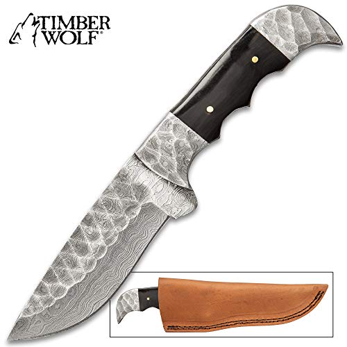 (Timber Wolf Saxon Conqueror Knife - Damascus Steel Blade, Buffalo Horn Handle Scales, Damascus Steel Pommel - Length)