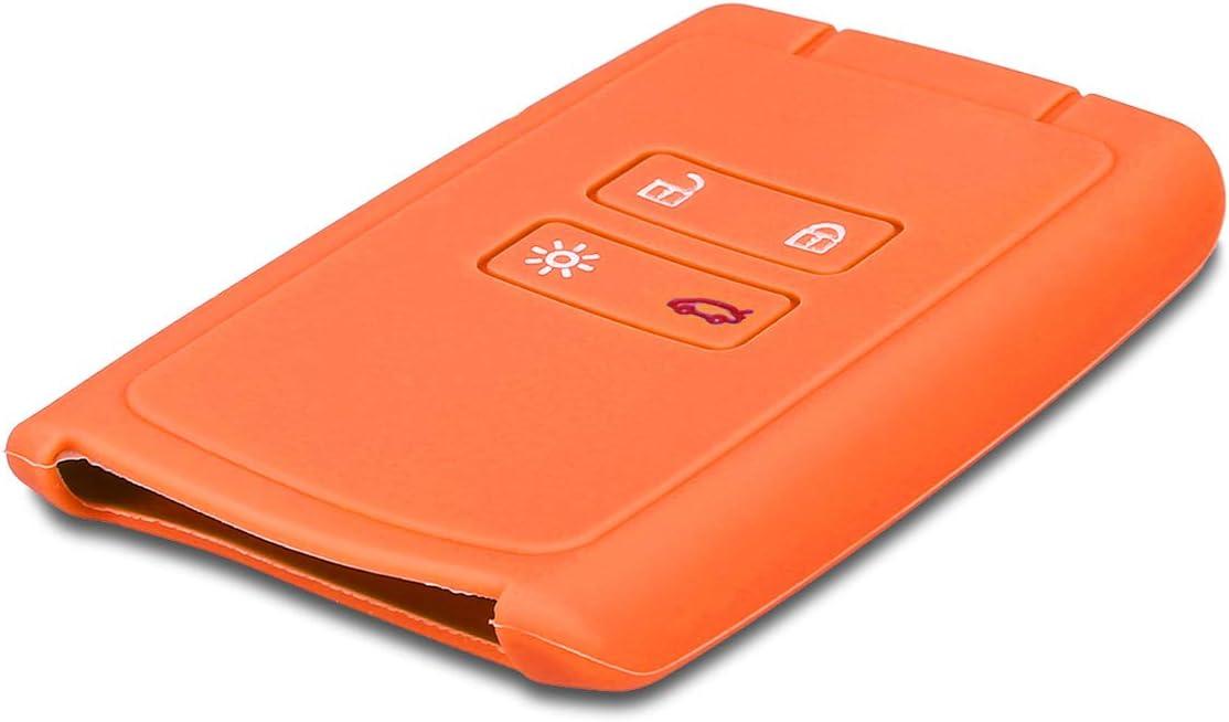 Coque pour Clef de Voiture Smart Key Renault 4-Bouton Keyless Go Uniquement kwmobile Accessoire cl/é de Voiture pour Renault en Silicone Noir-Blanc-Blanc /Étui de Protection Souple