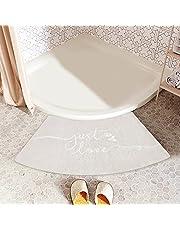 Isandy Stylish Curved Bath Mat for Quadrant Shower Corner Bath Rug for Bathroom, Tub Non-Slip Soft Mats Shaggy, Fluffy, Machine Washable