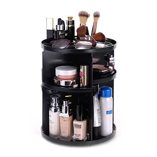 Vovoly Makeup Organizer Cosmetic Bathroom Storage Box With 7 Layers 360 Degree Adjustable fits for Cosmetics Sets Round shape Black