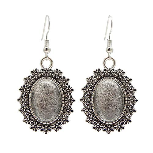 10 Pairs Earring Bezels Wire Hooks Setting Base Blank Tray Drops Antiqued Silver for Photo Jewelry Earrings Making with 18x13mm Oval Matching Clear Glass Cabochons ()