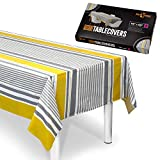Plastish Disposable Plastic Tablecloths | Size 54 X 60 Inches | 24 Count | Mustard & Grey Striped Design | Covers a 4 Ft. Rectangle Picnic Party Table | Many Sizes Available