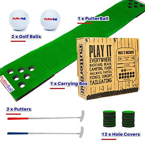 Putterball game set , Comes with 2 putters , 2 Golf Balls , Putting Green Beer Pong Golf Mat , Golf Hole Covers & Carrying Case]()