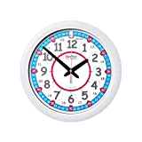 EasyRead Time Teacher Children's Red Blue Wall Clock, 12 & 24 Hour with silent movement. Learn to tell the time in 2 simple steps, for children age 5+