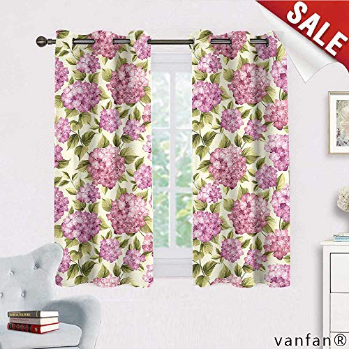 Mop Head Hydrangea - Big datastore Custom Made Curtain Rod Hooks Flower Hydrangea on Seamless Background. Mop Head Hydrangea Flower Pattern,Balance Indoor temperatureW63xH45