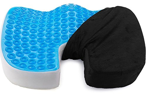 Coccyx Seat Cushion Back Support, Orthopedic Memory Foam Office Chair and Car Seat Cushion for Back Pain,Sciatica and Tailbone Relief ,Washable Cover, Black (Spine Removable)