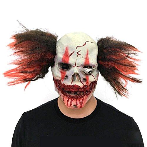 US-PopTrading Scary Clown Face Mask, Deluxe Latex Halloween Christmas Ball Latex Scary Mask, Costume Party Props Horror Joker Headgea - Joker Deluxe Latex