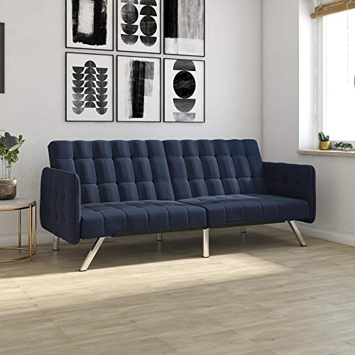 DHP Emily Convertible Futon and Sofa Sleeper, Modern Style with Tufted Cushion, Arm Rests and Chrome Legs, Quickly Converts into a Bed - Blue Linen (Bed Sofa Blue)