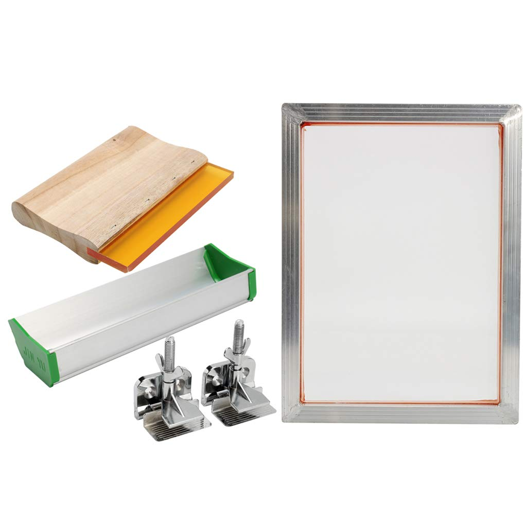 5Pcs/Set Screen Printing Kit Aluminum Frame Hinge Clamp Emulsion Scoop Coater Squeegee Screen Printing Tool Parts xuanL