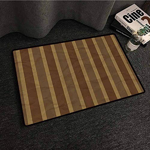 Retro Interesting Doormat Grunge Style Geometric Stripe Pattern Paper Effect Digital Print Non-Slip Door mat pad Machine can be Washed W31 xL47 Cinnamon Cocoa and Redwood