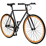 Retrospec Critical Cycles Harper Single-Speed Fixed Gear Urban Commuter Bike; 57cm, Graphite & Orange