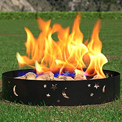 """Regal Flame Moon and Stars 36"""" Wood Fire Pit Fire Ring Ð Heavy-Duty and Perfect for RV, Camping, and Outdoor Fireplace"""