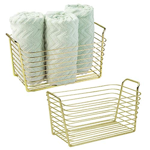 mDesign Farmhouse Metal Storage Organizer Basket Bin with Handles - Holds Hand Soaps, Body Wash, Shampoos, Lotion, Conditioners, Hand Towels, Hair Accessories, Body Spray - Medium, 2 Pack - Gold Brass