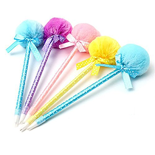 NUOLUX 5Pcs Cute Ribbon Princess Lovely Ballpoint Pen Adorable Fluffy Ball Pens ()
