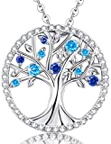 "Birthday Gift for Her ""Tree Of Life"" March Birthstone Necklace Jewelry Sterling Silver"