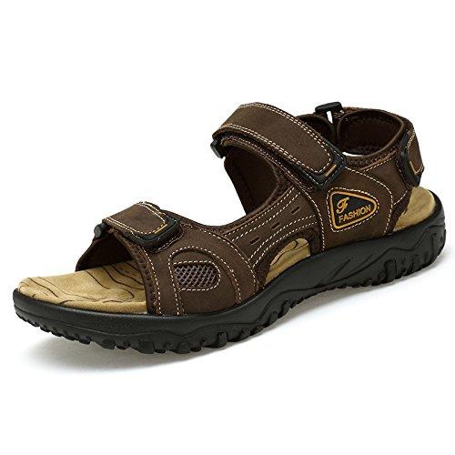 Lässig, Komfortable, Moderne Zeh, Sommer, Leder, Schuhe Wasserdicht, Atmungsaktiv, Strand, Sandalen Für Männer,Braun,Eu42