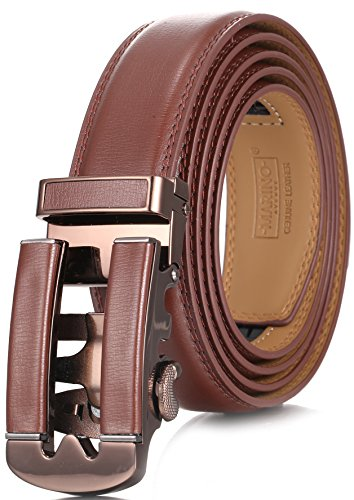 Designer Style Belt Buckle (Marino Ratchet Click Belt for Men, Designer Mesn's Leather Dress Belt with Open Automatic Buckle, Enclosed in an Elegant Gift Box - Brown 146 - Custom: Up to 44
