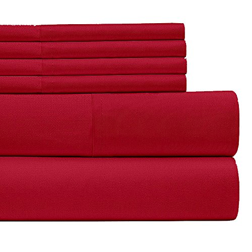 6 Piece:Egyptian Home Collection 1800 Series Luxury Deep Pocket Bed Sheet Queen Size/Burgundy