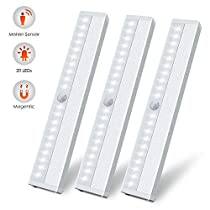 LED Motion Sensor Closet Light, 20 LED Wireless Motion Sensing Under Cabinet Lights, Stick on Anywhere USB Rechargeable Magnetic Night Light Bar for Counter Drawer Cupboard, White Light, 3 Pack (White 3 Pack)