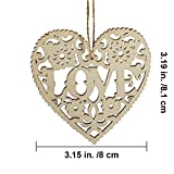 10 Set Hanging Wooden LOVE Heart Ornaments Unfinished Wood Heart Cutouts Embellishments Wood Carved LOVE Letters and Flowers Heart Shaped Gift Favor Tags Heart Die Cuts with Jute Twine Strings for Val
