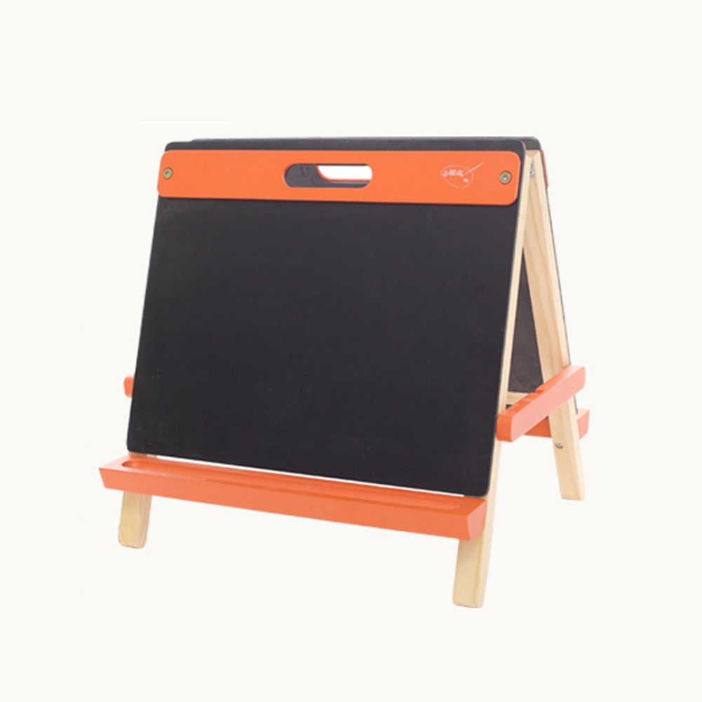 LXLA-Easel LXLA Child Double-sided Easel Baby Sketchpad Stand Puzzle Wordpad Pine Wood Toy No Harm To Children (Color : Orange)