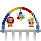 Pack N Play Bassinet Attachment SHILOH Baby Travel Play Arch Stroller Crib Pram Activity Bar with Rattle Squeak (Blue)
