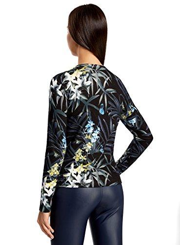 oodji Collection Mujer Rebeca de Punto con Estampado Floral Negro (2919F)