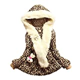 EGELEXY Baby Girls Faux Fur Leopard Hoodies Coat Kids Winter Warm Jacket 3/4T Leopard