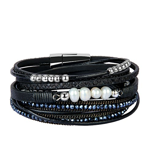 Pearl Wrap Around (Bfiyi Leather Cuff Bracelets for Women Charm Bracelets Handmade Jewelry Wrap Bangle with Crystal&Pearl)
