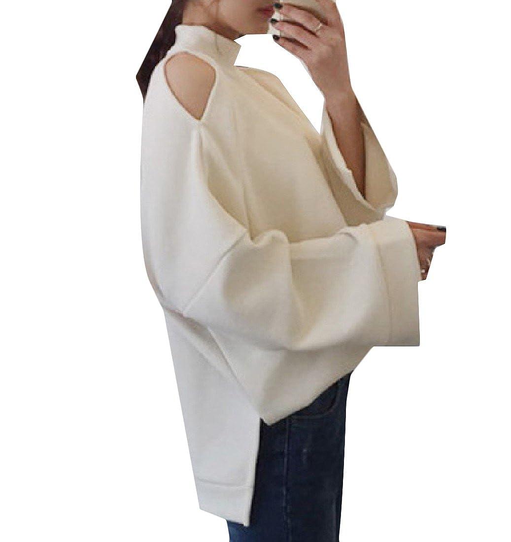 BabyYoung Womens Asymmetrical Shirt Long Sleeve Loose Fit Sweatshirt