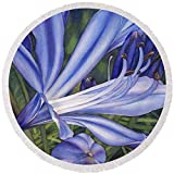 Pixels Round Beach Towel With Tassels featuring ''Agapanthus'' by Sandy Haight